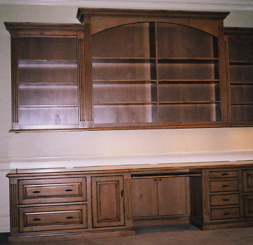 Custom Built Office Credenza with Upper Bookcase